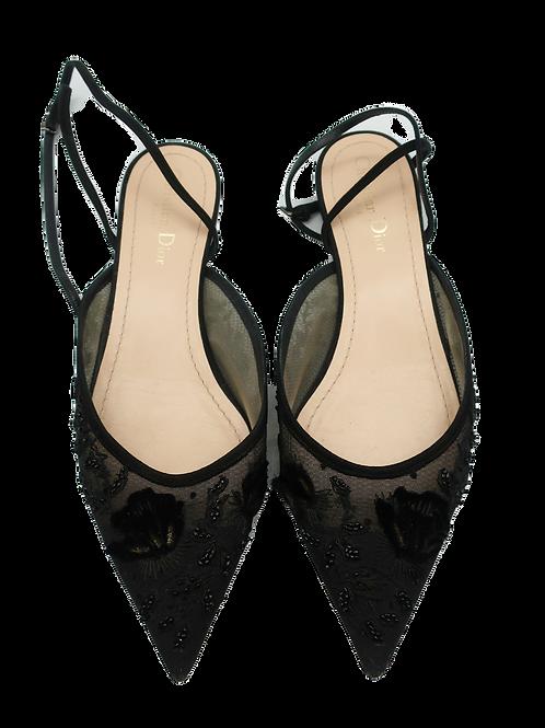 Dior Black Floral Mesh Flat Shoes
