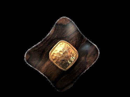 YSL Rive Gauche Wooden Brooch