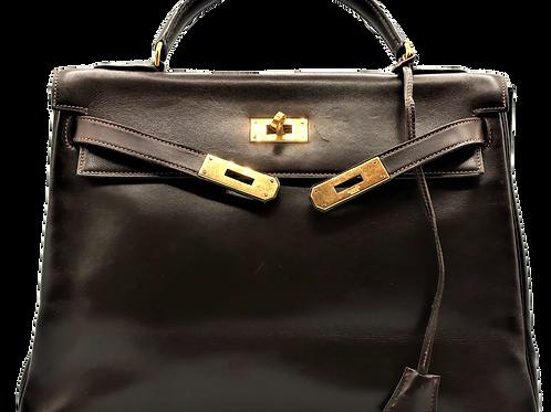 Hermès Box Calf Kelly Brown Bag