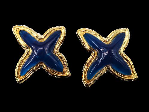 Guy Laroche Blue Seastar Lucite Clip-on Earrings