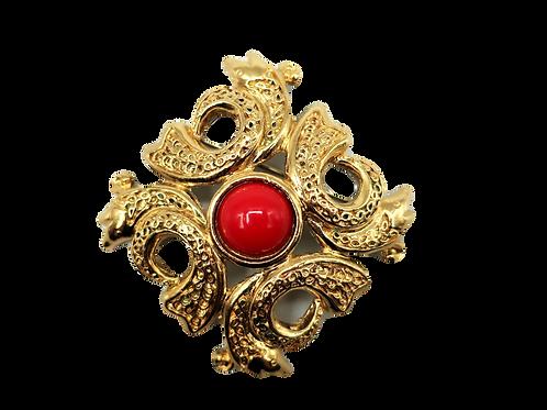 Guy Laroche Red Stone Brooch