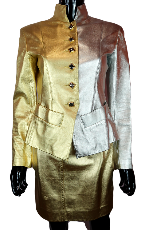 Yves Saint Laurent Silver & Gold Leather Jacket