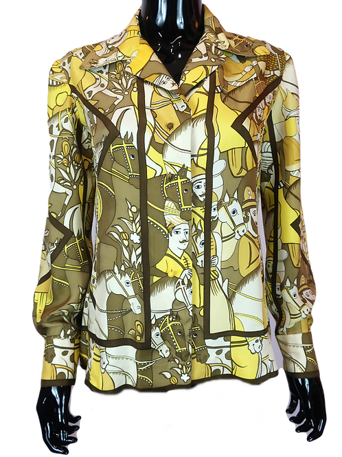 Hermès 1970's Silk Shirt