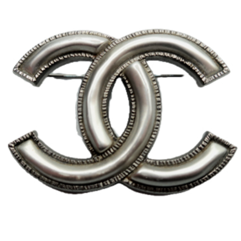 Chanel Silver Double-C Brooch