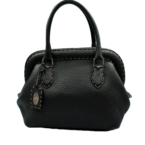 Fendi Selleria Black Leather Handbag