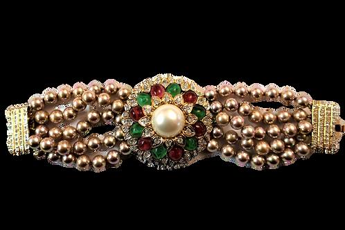 Vogue Bijoux Pearl and Rhinestone Bracelet