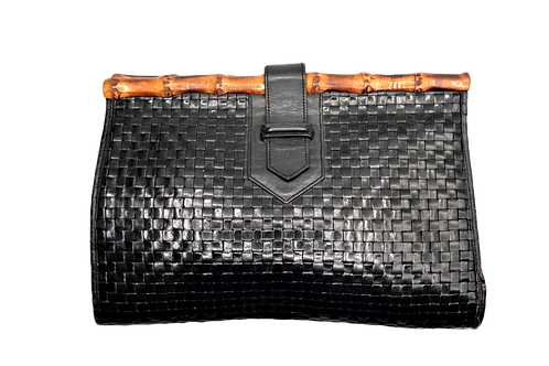 YSL Leather & Bamboo Clutch