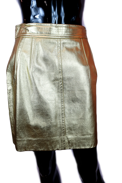 Escada Gold Leather Mini Skirt