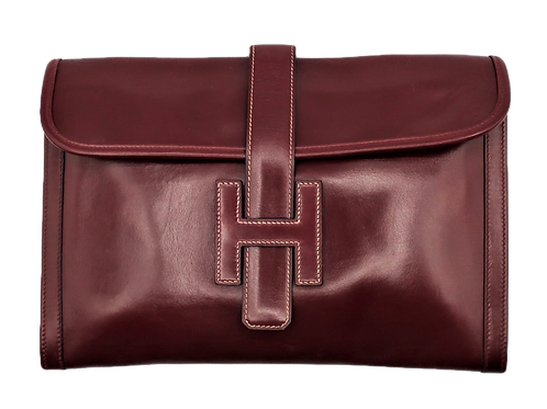 Hermès Burgundy Jige Clutch