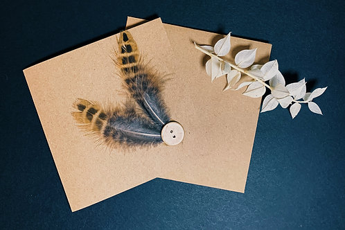 Handmade Card with Feathers