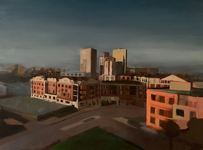 """""""Federal Hill""""oil on panel, 2' x 3'"""