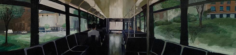 """""""JHU Bus"""" oil on panel, 1'x4'"""