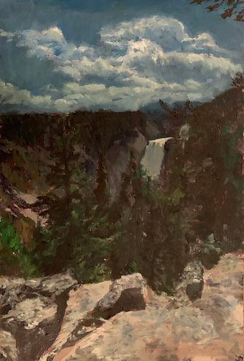 """Waterfall I"" oil on panel, 2' x 3' 2019"