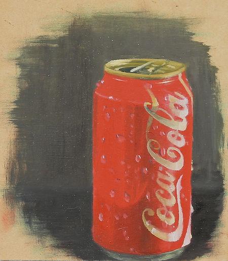 """Soda Can II"" Oil on wood, 4""x5"""