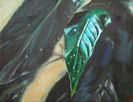 """Green Leaf"" oil on canvas, 9""x12"""