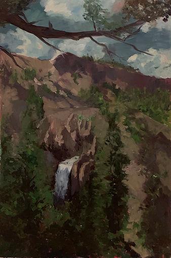 """""""Waterfall II"""" oil on panel, 2' x 3' 2019"""