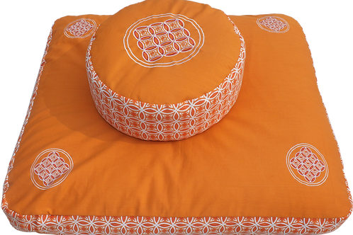 Meditationsmatte Zabuton set Extra thick -  Orange