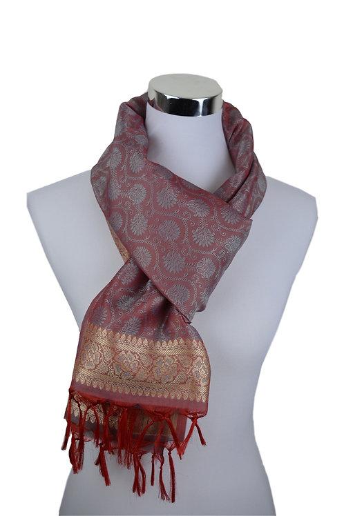 Madras style Seide Schal (Rani pink)