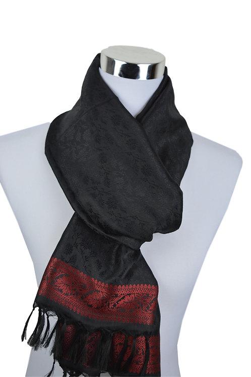 Madras style Seide Schal (Schwarz)