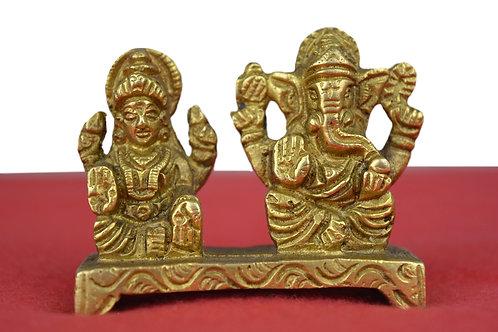 Ganesh & Laxmi Figur- Neu auf Messing