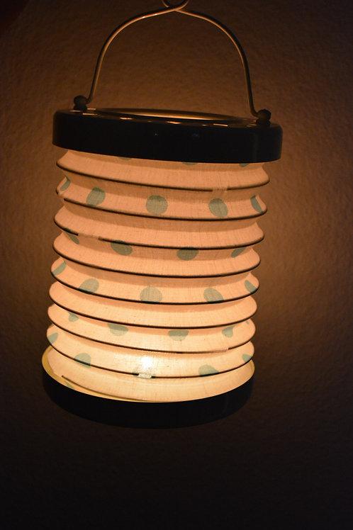 Teelicht Rund Lampe (Natural/Blue Dots)