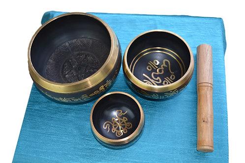 Klangschale set of 3 Buddh Tara aus Messing