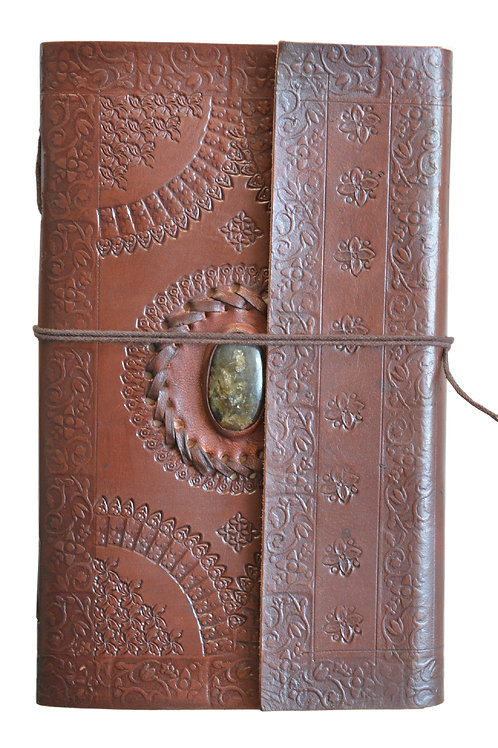 Leder Persönliches Journal Notizbücher(Grün stein)