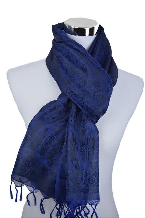 Madras style Seide Schal (Blau)
