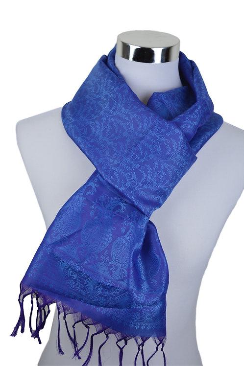 Madras style Seide Schal (Hell Blau)