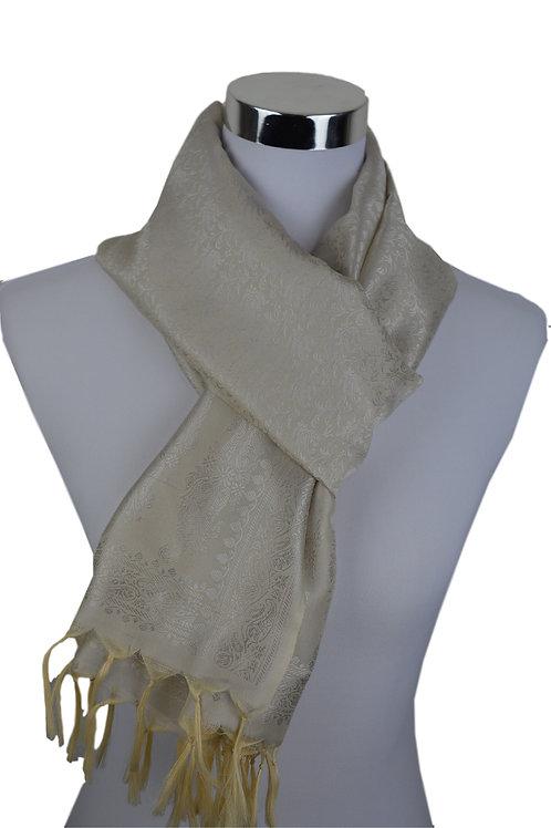 Madras style Seide Schal (Weiß Natural)