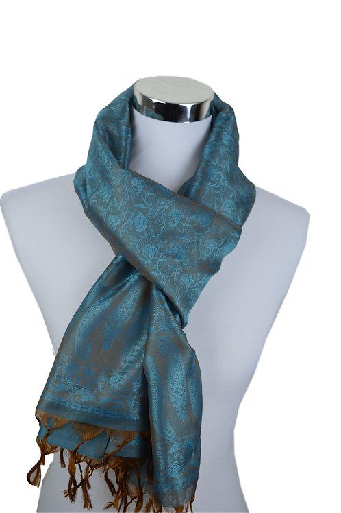 Madras style Seide Schal (Shiny Blau)