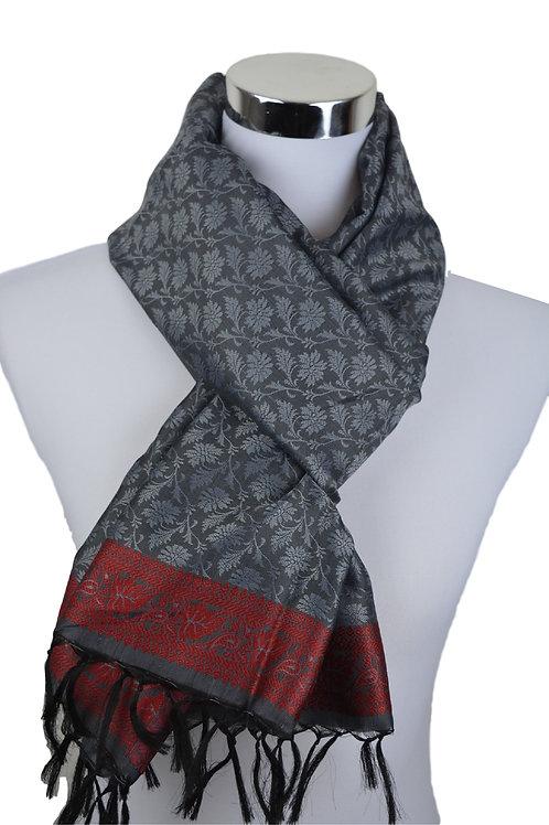 Madras style Seide Schal (Grey)