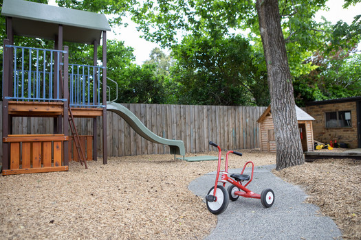 Outdoor playspace at Doncaster East Daycare servicing the areas of Blackburn, Mitcham and Templestowe.