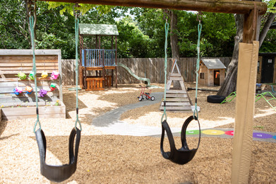 Outdoor swing at Doncaster East Daycare servicing the areas of Blackburn, Mitcham and Templestowe.