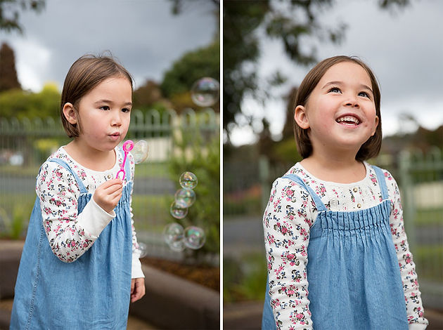 Child blowing bubbles at Kindergarten photography Melbourne