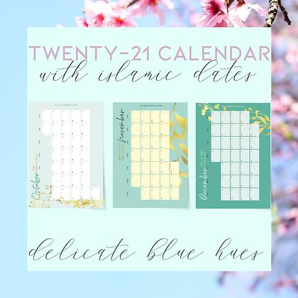 Delicate Blue Hues- 2021 Calendar