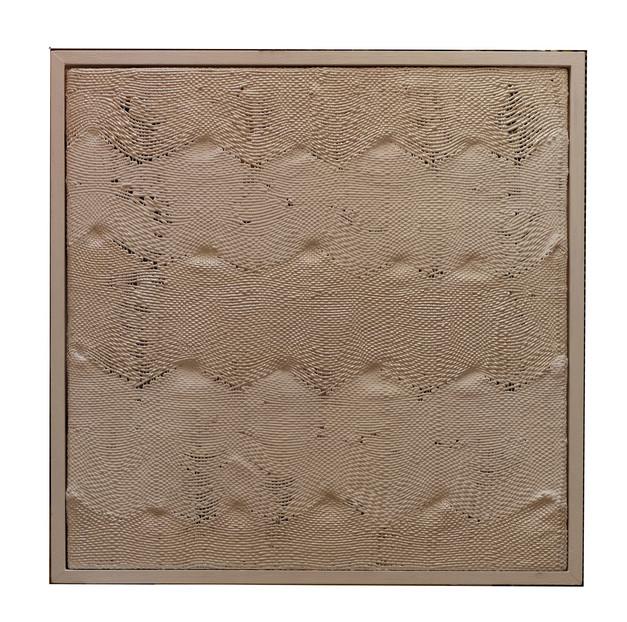 """""""Weiß mit Wellen"""", Silikone, 1996, 91x91cm"""