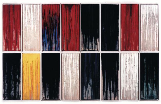 Silikone-Farbtransfusion 16 Felder, 1997, 16x39x91cm