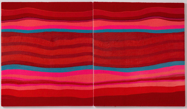 """Hybrid-Silikone """"Roter Formenfluss Wolle"""", 2003, 176x310cm"""