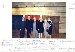 Teddy Kollek, bei der Eröffnung der Ausstellung  Jerusalem, 1999,   The Jerusalem Centre of the Performing Art, Sherover Theatre Foyer