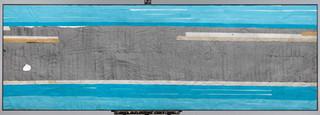 Strip-Cut-Collage, work 2, Türkis, 2011, 300x100cm