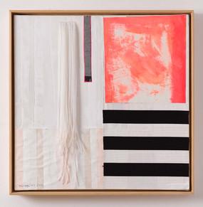 Strip-Cut-Collage mit Fransen Nr. 2, 2017, 84,5x83,5cm