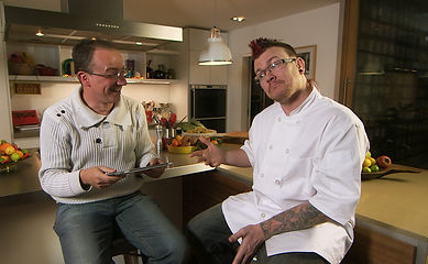 Punk Chef in his kitchen with Richard