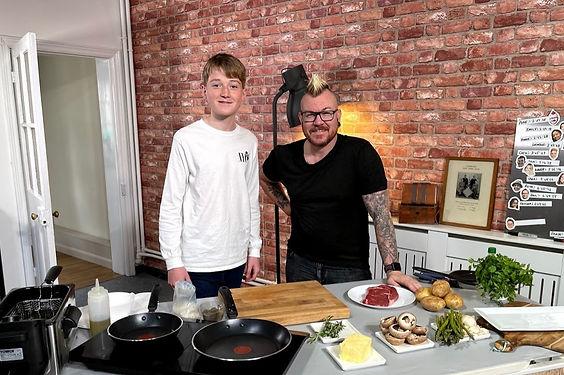 Scott with Orion on Sunday Kitchen Live