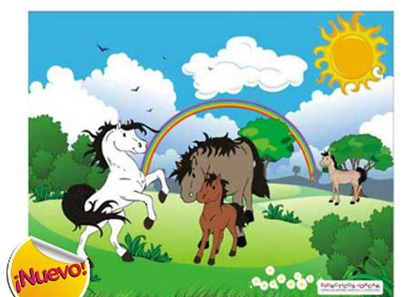 Rompecabezas familia de caballos