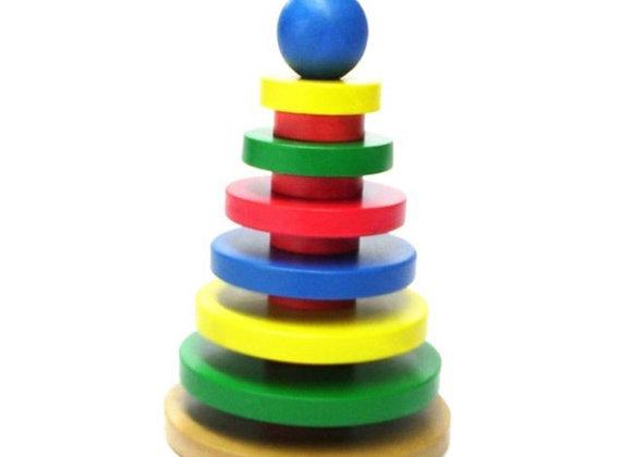 Torre de círculos ensartables en madera
