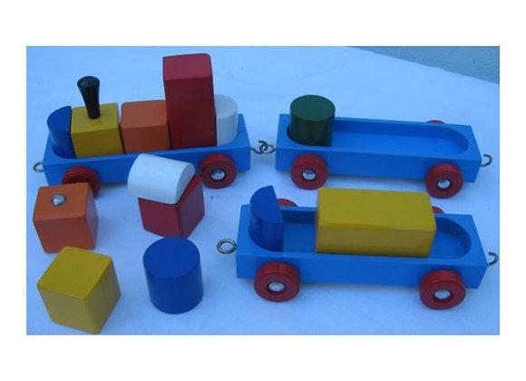 Tren con bloques en madera