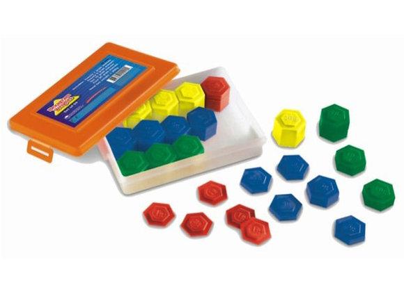 Juego de pesos hexagonales