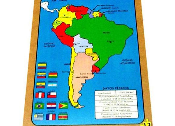 Rompecabezas mapa político de Sur América