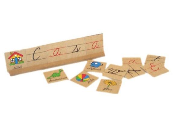 Caja de letras y palabras cursiva